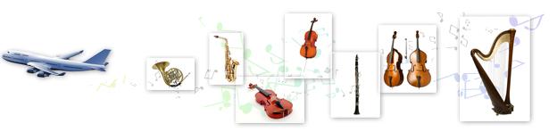 バイオリン、チェロ、ハープ、サックス